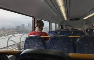 A near-empty trains crosses the Sydney Harbour Bridge on Monday.