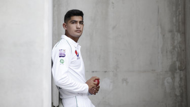 Naseem Shah at the Gabba on the eve of the first Test.