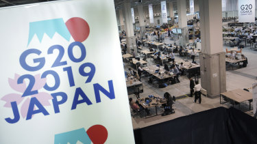 The media centre is seen prior to the G20 summit in Osaka, Japan.