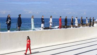 Models line the pool at Bondi Icebergs.
