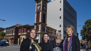 Aunty Rhonda Dixon-Grovenor, Lord Mayor Clover Moore, Delilah Macgillivray and Aunty Millie Ingram outside the Redfern Post Office.
