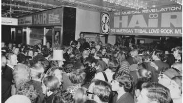 The opening night crowd outside the Metro Theatre in Bourke Street.