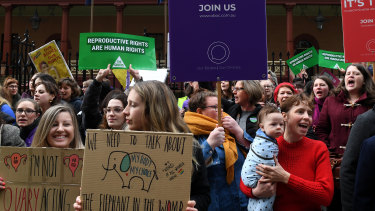 Pro-choice supporters rallied outside NSW Parliament last week.