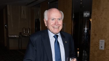 Former prime minister John Howard arrives at the Sofitel Wentworth in Sydney.