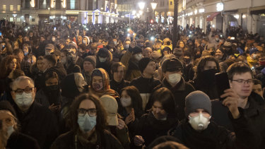 People attend the opposition rally in support of jailed opposition leader Alexei Navalny in Moscow, Russia last week.