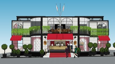 An artist's impression of the Parisian hotel-inspired Mumm marquee, which will be unveiled next week.