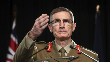 Chief of the Defence Force General Angus Campbell taking questions about the Brereton report on Thursday.