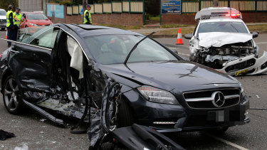A police car and Mercedes involved in a serious collision in Cronulla.