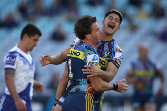 Clint Gutherson celebrates one of his first-half tries.