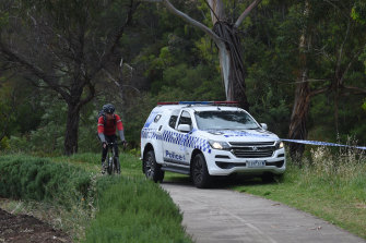 Police at the scene of an attack on a jogger on the Merri Creek trail in Coburg.