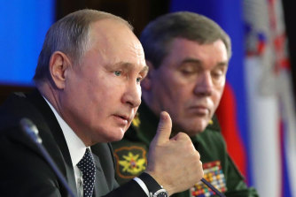 Putin made the claims during an annual meeting with his nation's top military officials.