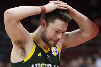 Boomer Matthew Dellavedova reacts after their double overtime loss against Spain.