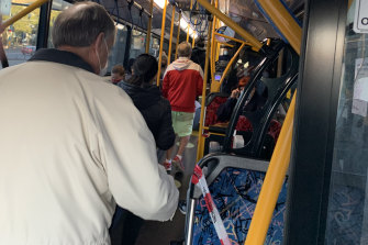 Sydney's buses have been operating beyond safe distancing guidelines, as this photo taken on Thursday shows.