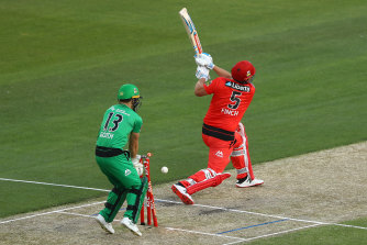 Finch's duck: The Renegades skipper is bowled by by Stars counterpart Glenn Maxwell.