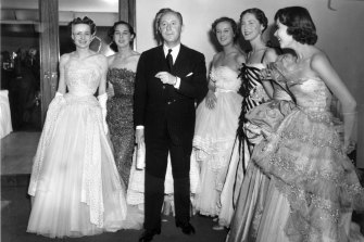Christian Dior with his New Look models in London in April 1950.