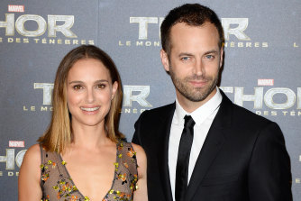 Pulled out of shooting: Natalie Portman with director husband Benjamin Millepied.
