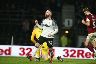 Wayne Rooney was on target from the spot for Derby County.
