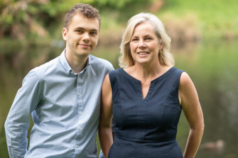Hamish Fairlie, 20, and his mother Fiona. Hamish received his first cochlear implant when he was five, and a second in the other ear when he was 14.