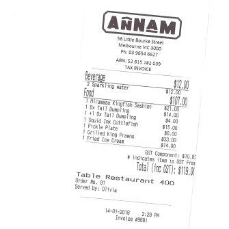 The bill: Annam, 56 Little Bourke Street, Melbourne.