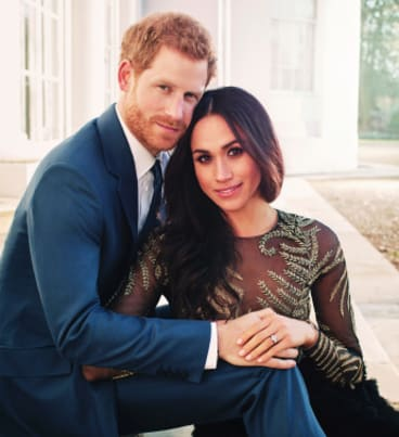 Prince Harry and Meghan Markle pose for one of two official engagement photos.