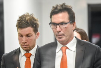 Toby Greene with Wayne Campbell at the AFL Tribunal on Tuesday night.