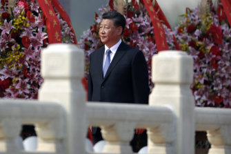 Chinese President Xi Jinping at a wreath-laying ceremony at the Monument to the People's Heroes in Tiananmen Square on Monday.