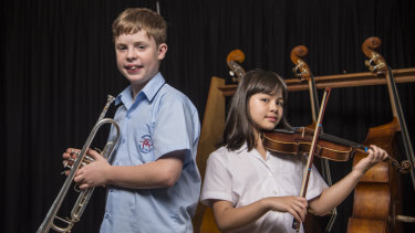 Students Flynn Poppleton, 12, and Naomi Nogawa-Lewy, 9, are winners of the International Jazz Day composition competition.