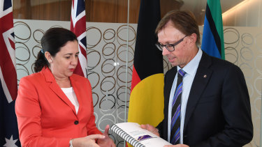 Queensland Rail chairman Phillip Strachan (pictured with Premier Annastacia Palaszczuk) has resigned.