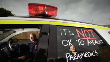 Victorian paramedics protested when two women escaped a jail term for bashing their colleague after an appeal.
