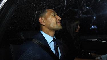Israel Folau after his code of conduct hearing.