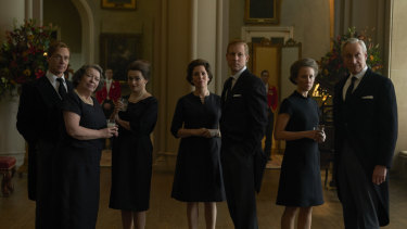 Royal flush: Olivia Coleman (centre) and Tobias Menzies in season 3 of The Crown.