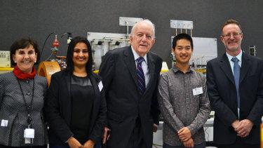 John Hooke (centre) at the naming of the John Hooke Physics Laboratory, September, 2017.