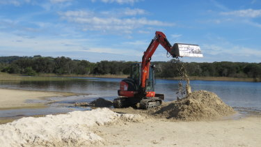 The Tallow Creek estuary being opened to the sea on June 14 by the Byron Bay Council.