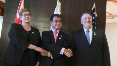 Australian Foreign Minister Marise Payne, Japanese Foreign Minister Taro Kono and US Secretary of State Mike Pompeo at the summit.