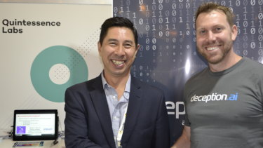 Vince Lee from QuintessenceLabs with deception.ai chief executive Ben Whitham at the Australian Cyber Security Centre conference in Canberra, where they announced a new partnership on Wednesday.