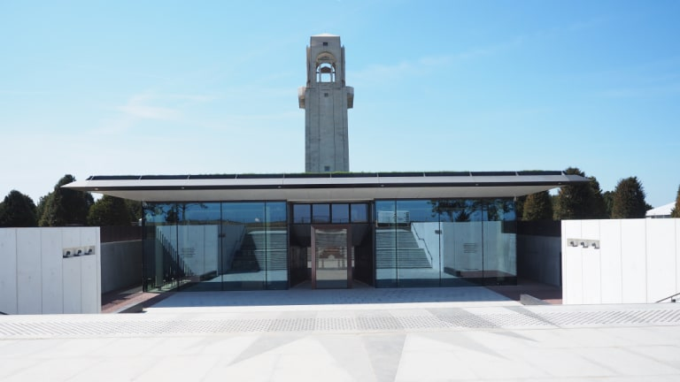 The Sir John Monash Centre at Villers-Bretonneux nestles into the earth behind the Australian National Memorial.