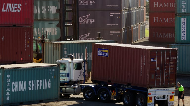 Containers are loaded and unloaded at Port Botany.