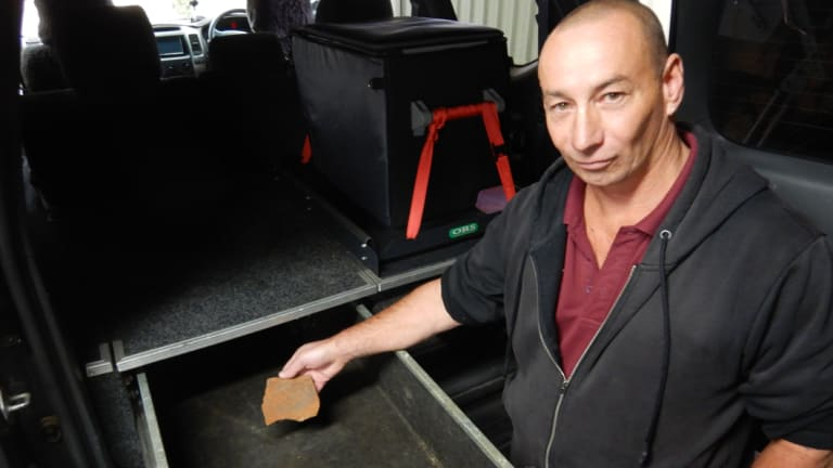 Steve initially stashed the rock he pilfered from Uluru in this tray in the back of his 4WD.
