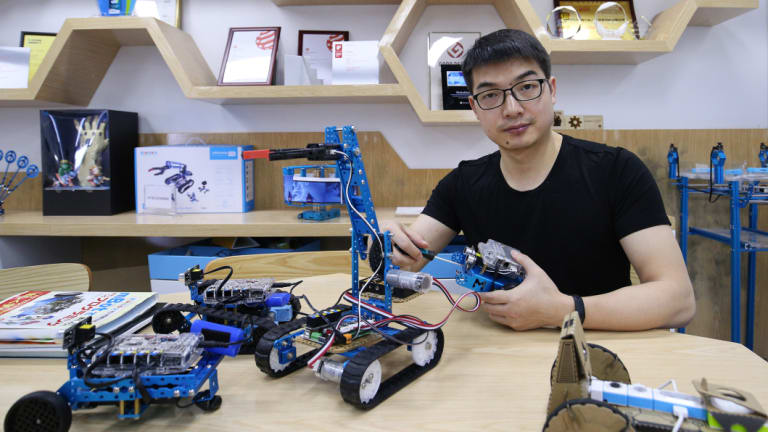 Jasen Wang's company Makeblock sells educational robotics kits to 5 million users in 160 countries worldwide.