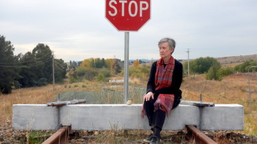 Anne Forrest at the site of the recently demolished 'Petrov Bridge' in Hume.