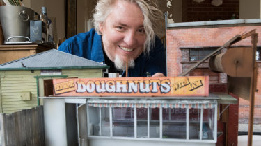 David Hourigan with his model of the late, much loved Olympic Doughnuts van that stood outside Footscray station.