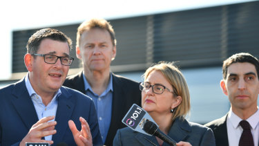 Premier Daniel Andrews and Public Transport Minister Jacinta Allan talk to the media about Labor's plan.