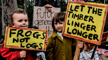 Children protesting at logging in the Corunna State Forsts in NSW.
