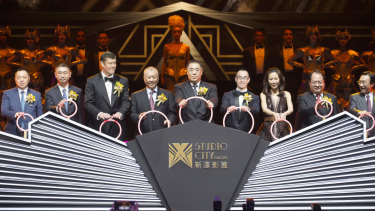James Packer and Lawrence Ho at Melco Crown's Studio City in Macau, China.
