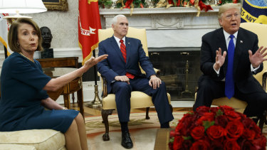 Nancy Pelosi argues with Donald Trump during a meeting in the Oval Office of the White House last year.