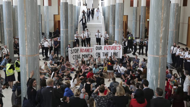 Protesters in Parliament's Marble Foyer calling for action on climate change earlier this month.