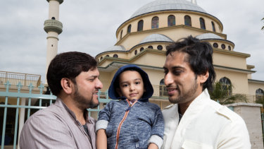 Imran Khan with son Ibraheem and friend Naveed outside the Auburn Gallipoli Mosque.