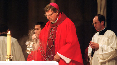 Cardinal Pell celebrating Mass at St Patricks' in 2001.