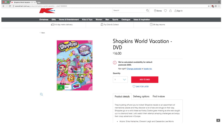 The product was removed from Kmart's online catalogue, after saying the storyline of a children's DVD included references to sex and drugs.