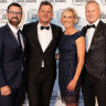 "Kip Wightman, Ashley ""Ash"" Bradnam, Susie O'Neill and David ""Luttsy"" Lutteral from Nova106.9 at the Australian Commercial Radio Awards on October 19, 2019."